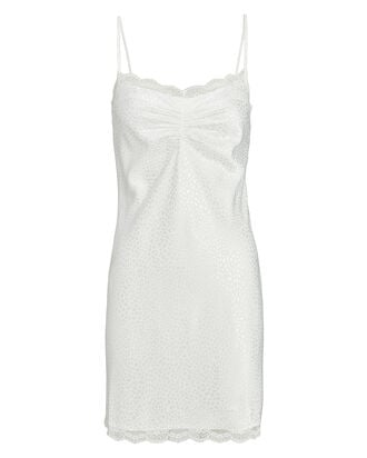 Lace-Trimmed Leopard Jacquard Slip Dress, WHITE, hi-res