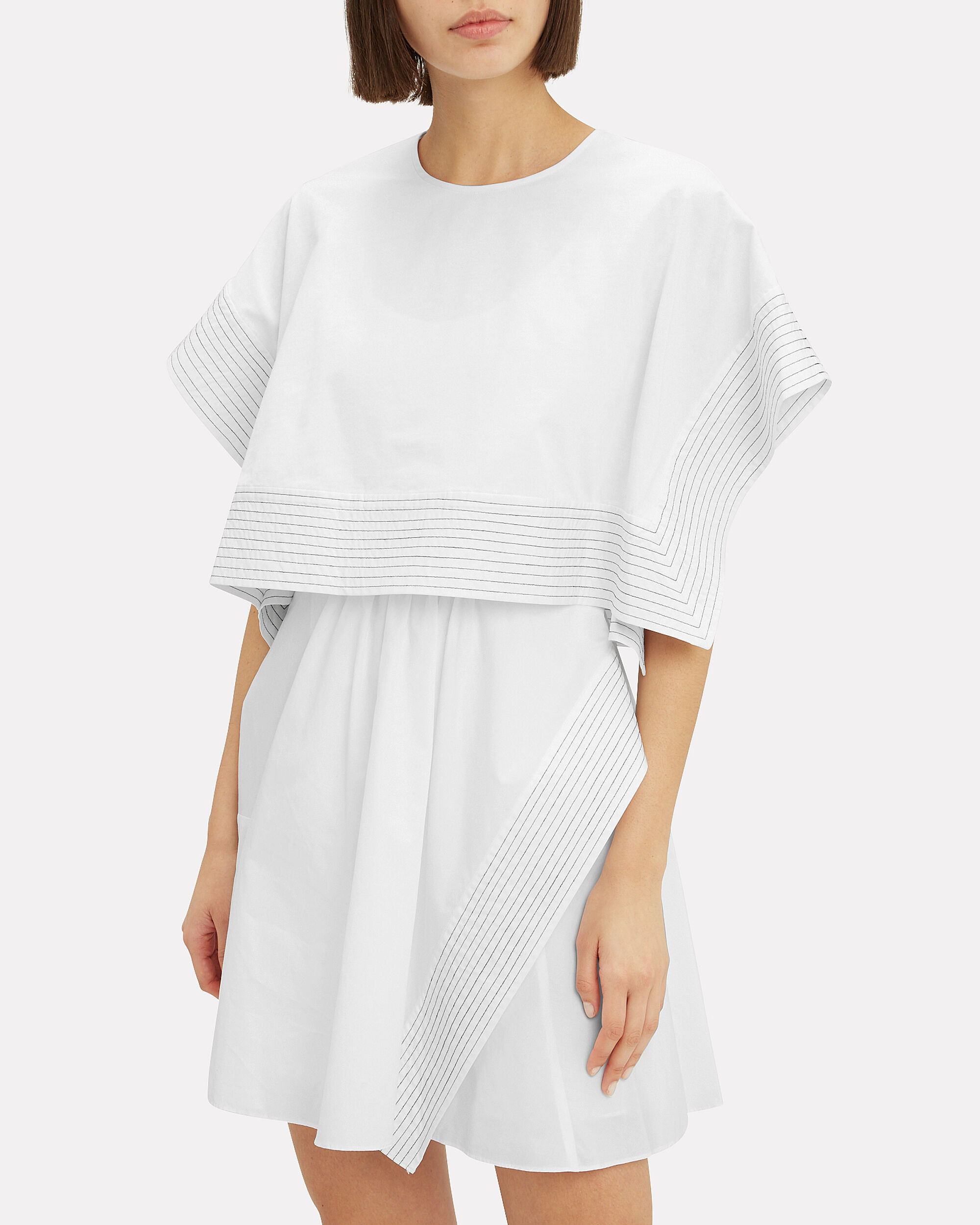 Boxy Crop Top Mini Dress, WHITE, hi-res