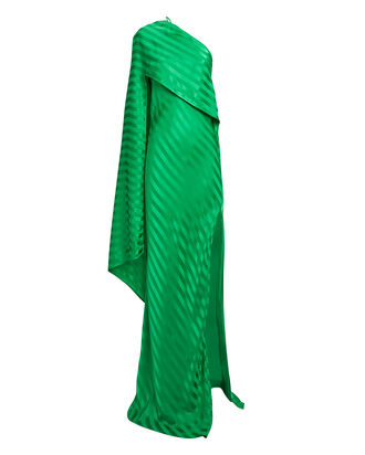 Draped One Shoulder Shadow Stripe Gown, GREEN, hi-res
