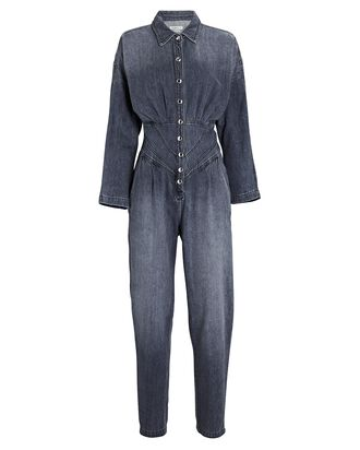 Flower Denim Jumpsuit, GREY, hi-res
