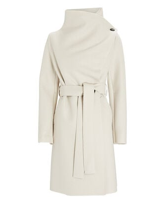 Pressed Wool Volcano Wrap Coat, IVORY, hi-res
