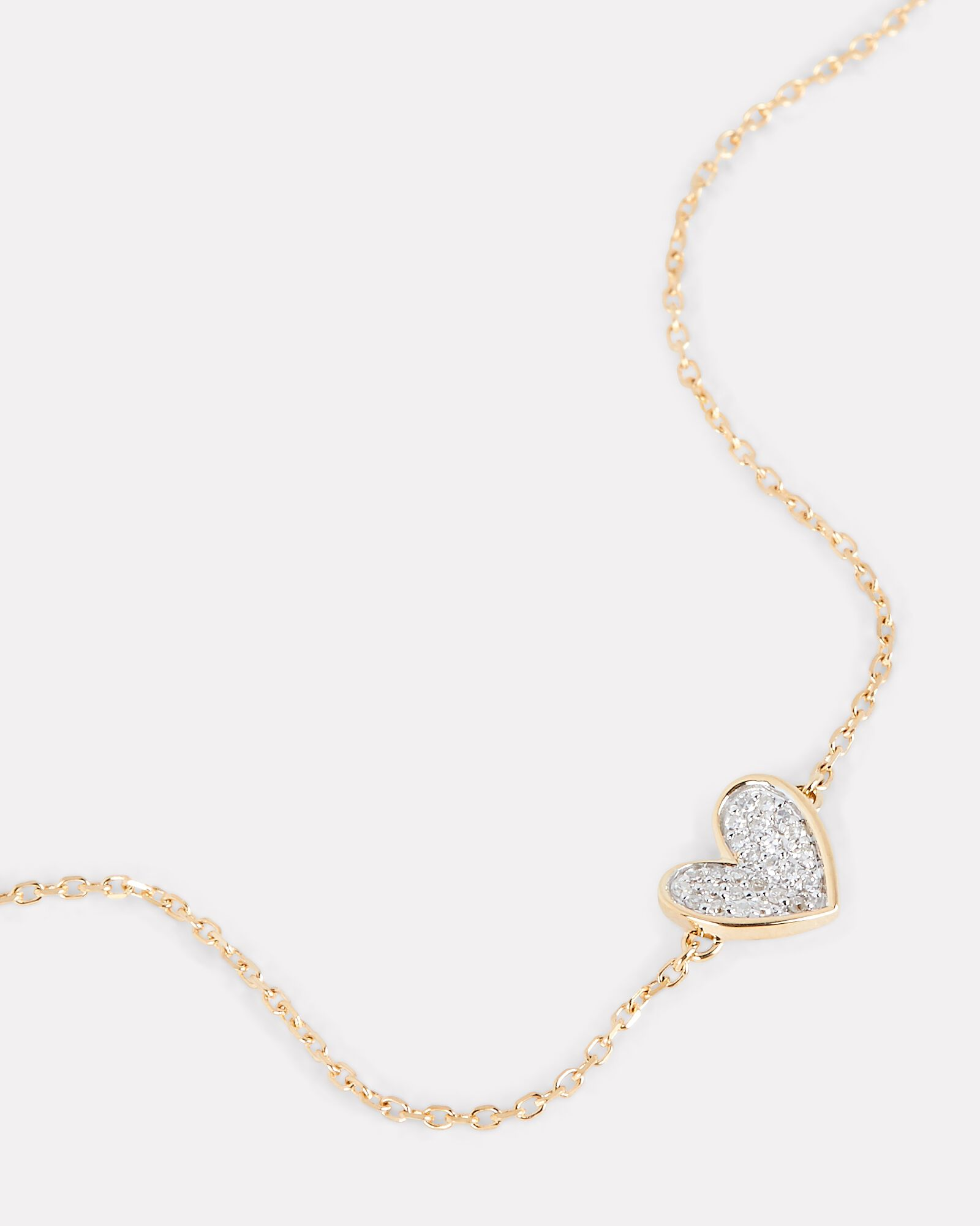 Tiny Pavé Folded Heart Bracelet, GOLD, hi-res