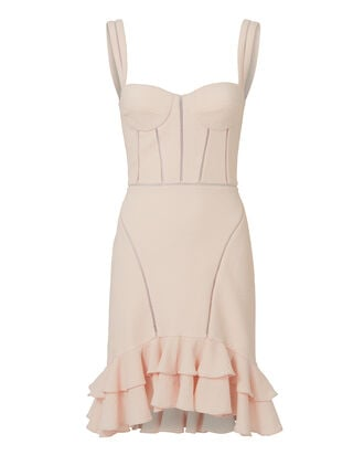 Seersucker Bustier Mini Dress, PINK, hi-res