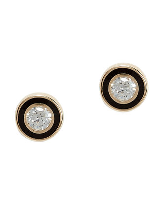 Single Stone Stud Earrings, GOLD, hi-res