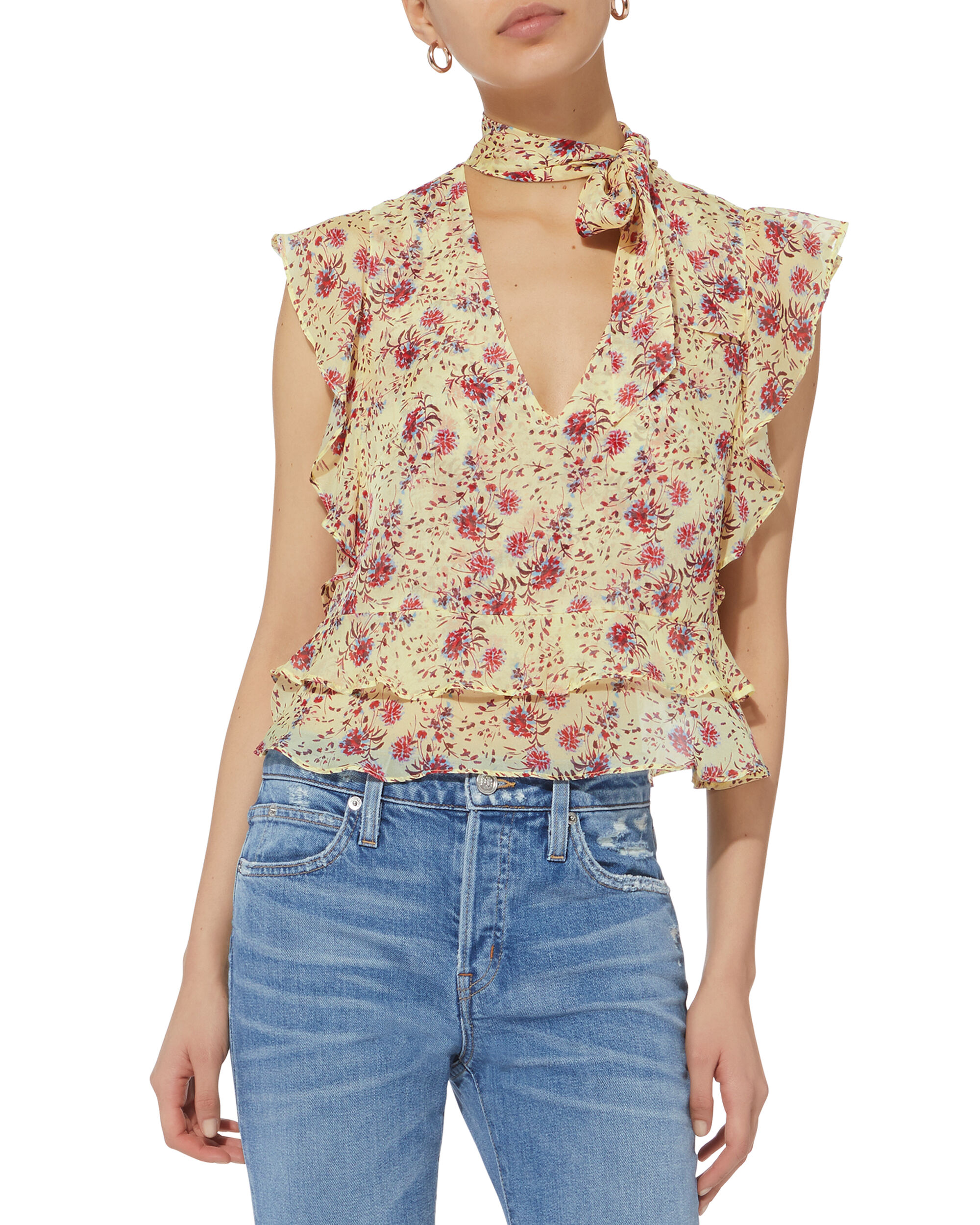 Kenni Tie Neck Top, MULTI, hi-res