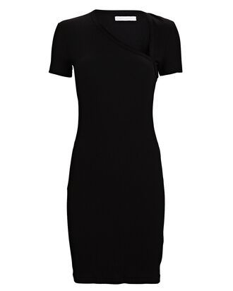 Cotton Rib Knit Asymmetrical Dress, BLACK, hi-res