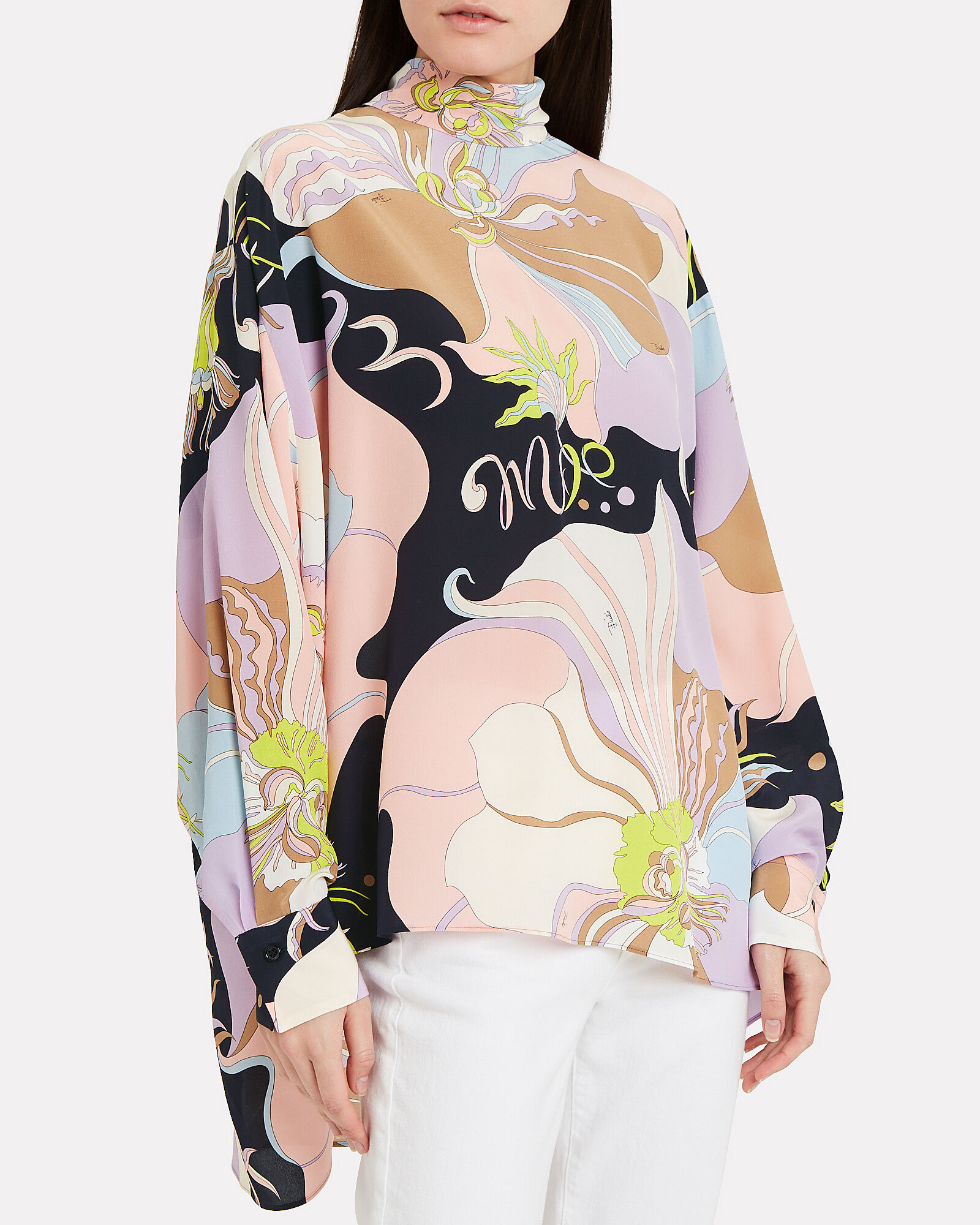 Silk Printed High Neck Top, MULTI, hi-res