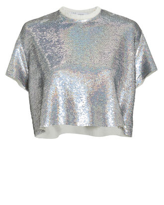 Natesa Silver Sequin Crop Top, SILVER, hi-res