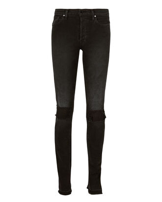 High Split Distressed Skinny Black Jeans, BLACK, hi-res