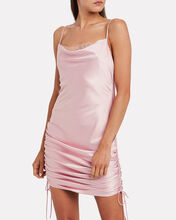 Ruched Satin Slip Dress, PINK, hi-res