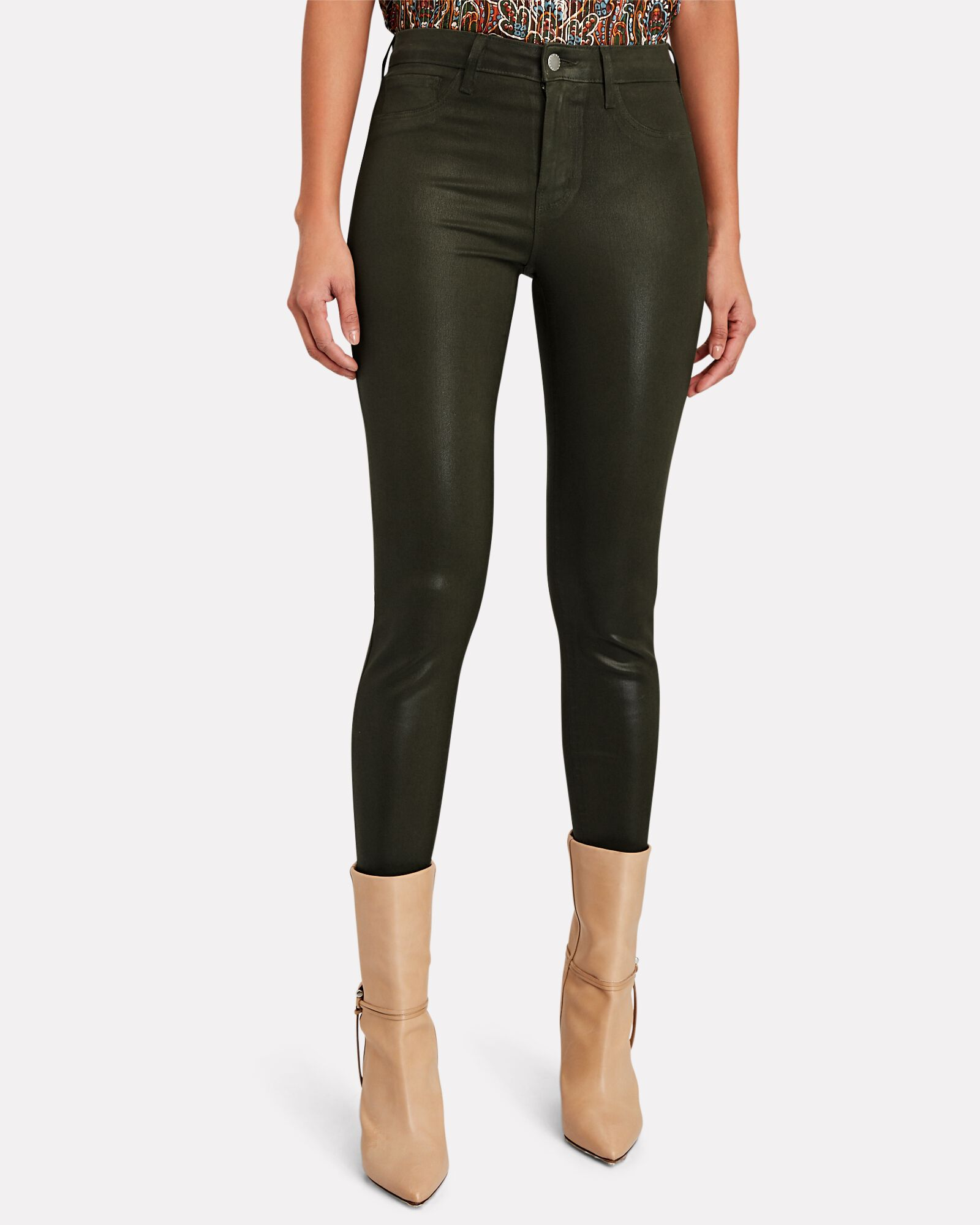 Margot Coated Skinny Jeans, OLIVE/ARMY, hi-res