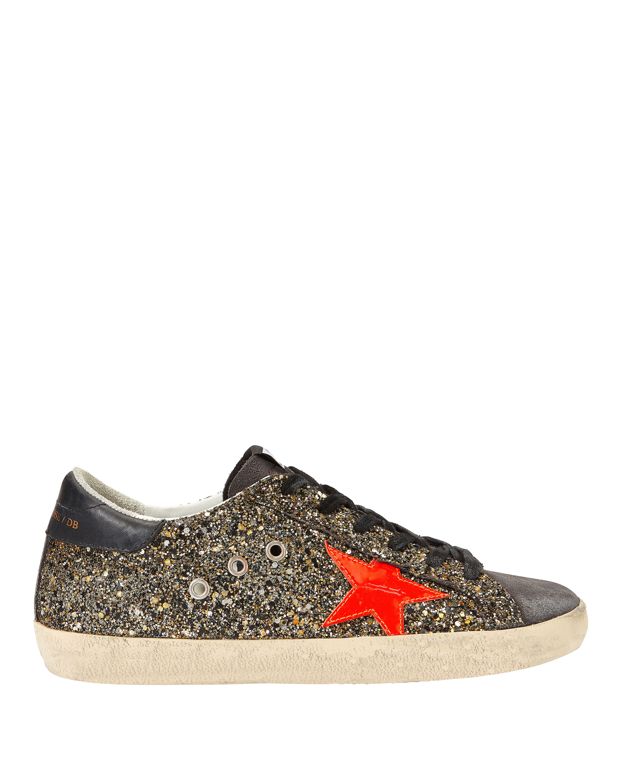 Superstar Black And Gold Glitter Low-Top Sneakers, BLACK, hi-res