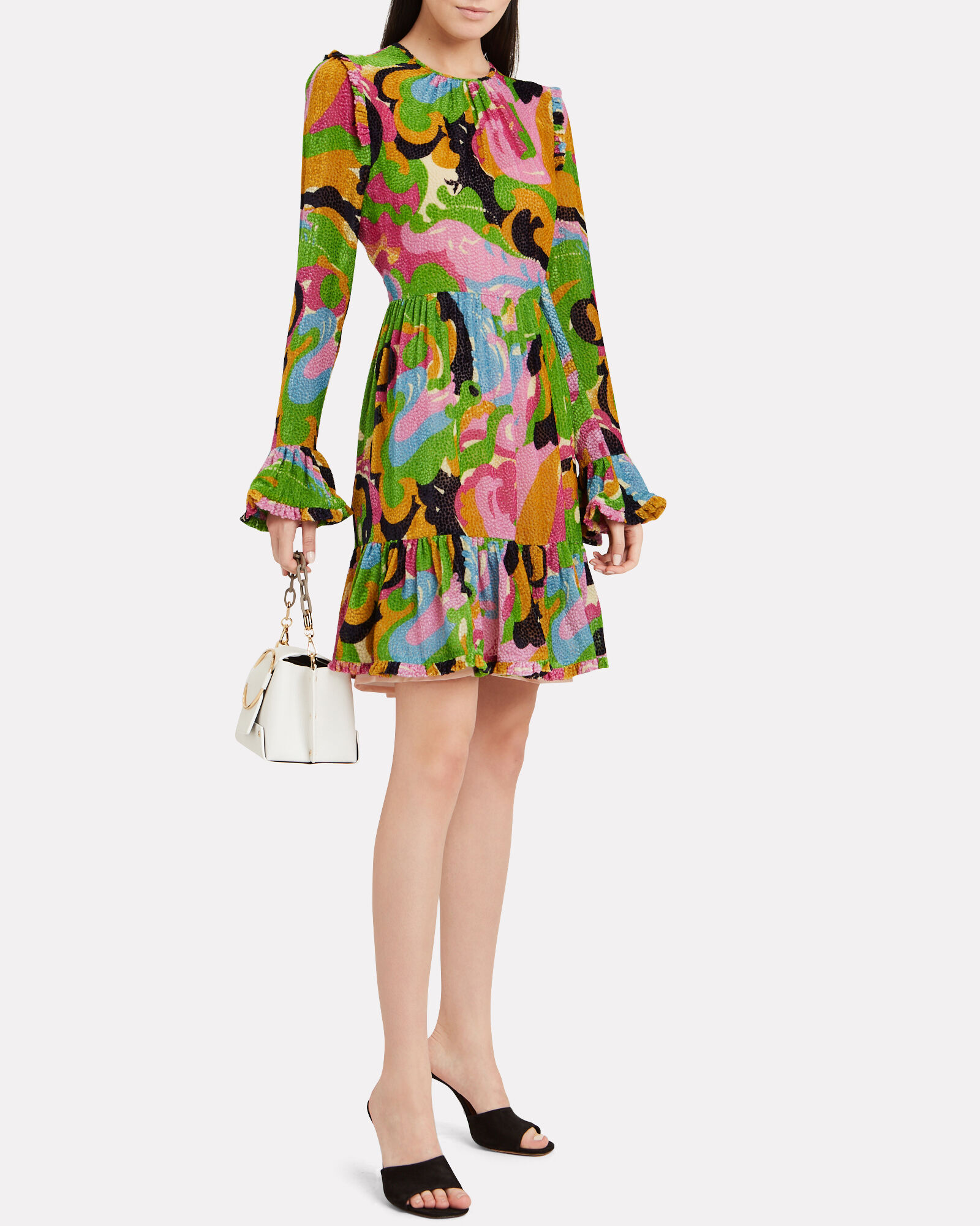 Visconti Mini Dress, GREEN/PINK ABSTRACT, hi-res