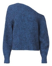 Chunky Mohair Asymmetrical Sweater, BLUE-MED, hi-res