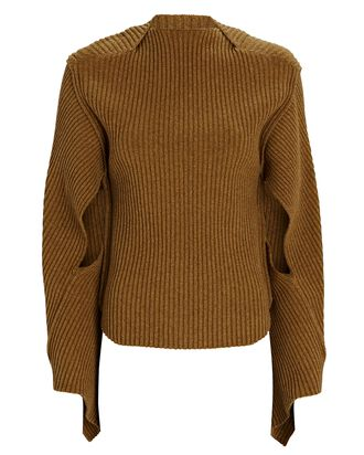 Rib Knit Cut-Out Sweater, BROWN, hi-res