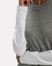 Roscoe Poplin Sleeve Sweater, GREY/WHITE, hi-res