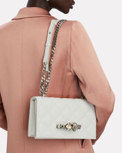 Jeweled Quilted Leather Satchel, IVORY, hi-res