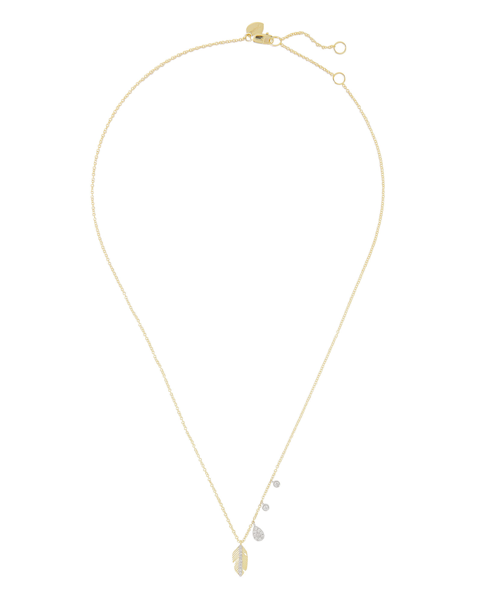 Feather Delicate Necklace, GOLD, hi-res
