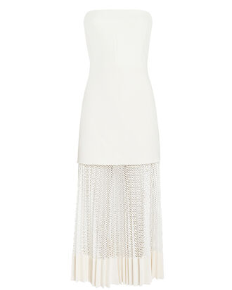 Bonded Crepe Bustier Dress, IVORY, hi-res