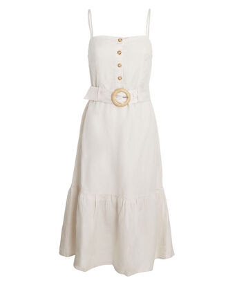Astrid Belted Linen-Blend Midi Dress, IVORY, hi-res