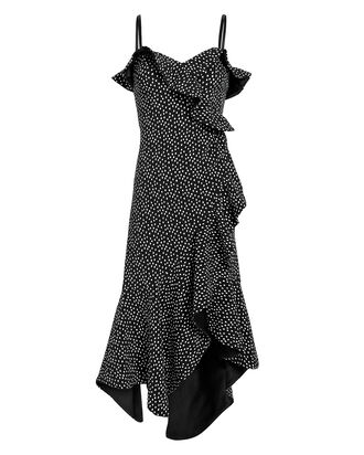 Speckle Print Asymmetrical Ruffle Dress, BLACK/WHITE, hi-res