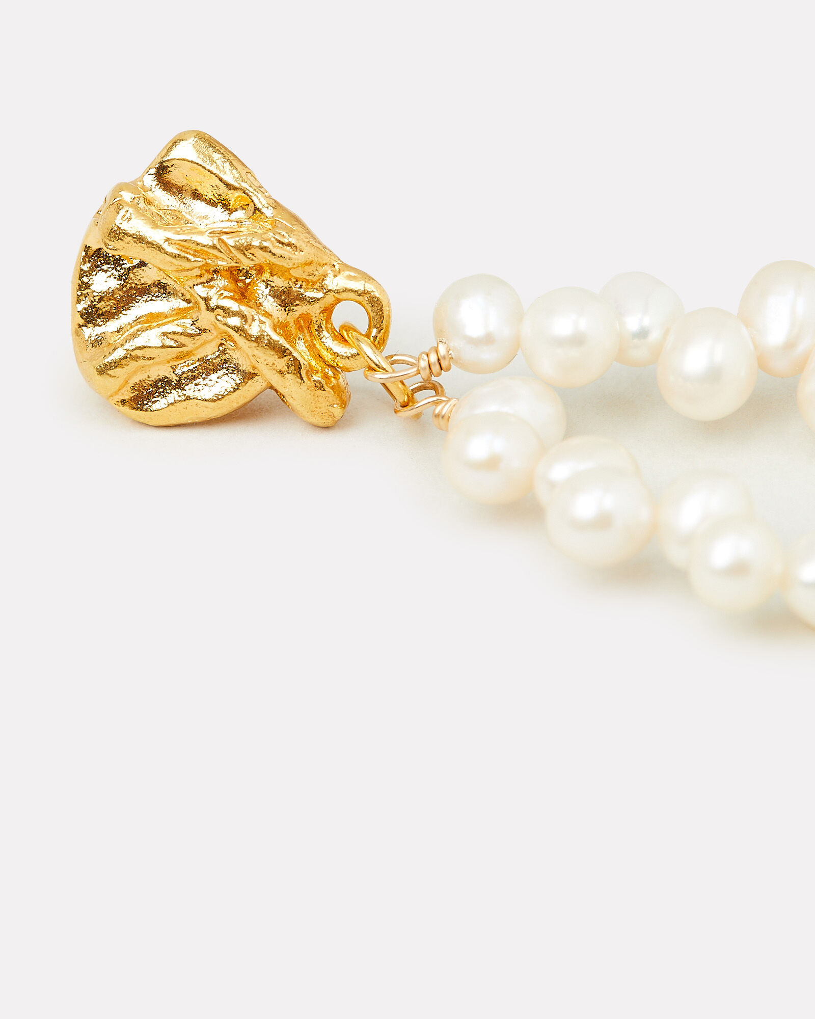 Apollo's Story Pearl Oval Earrings, WHITE, hi-res