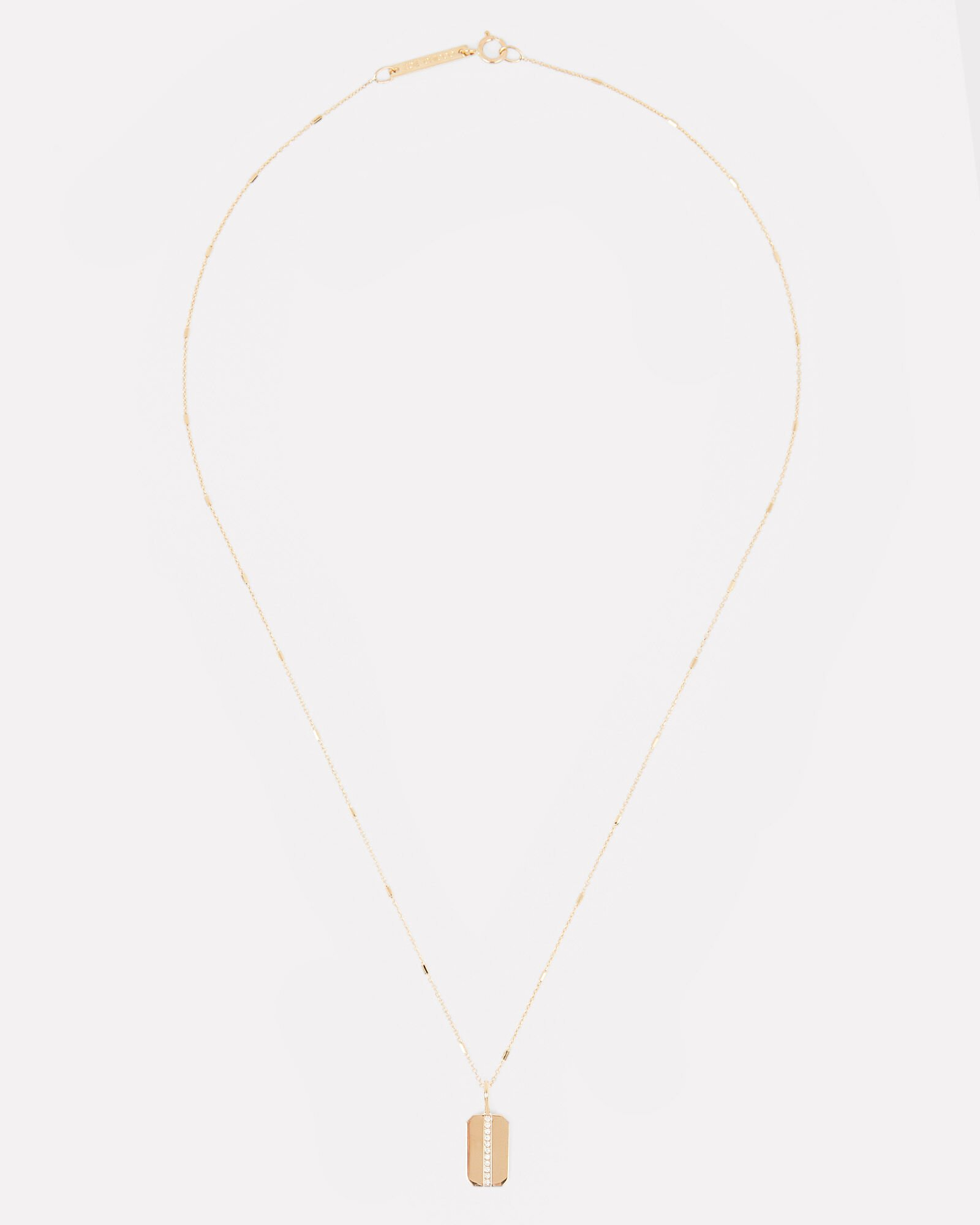 Small Pavé Dog Tag Necklace, GOLD, hi-res