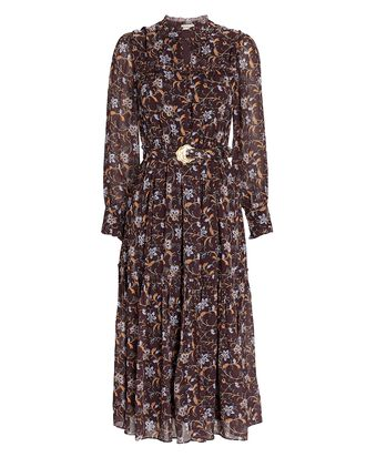 Dasha Floral Chiffon Midi Dress, BURGUNDY, hi-res