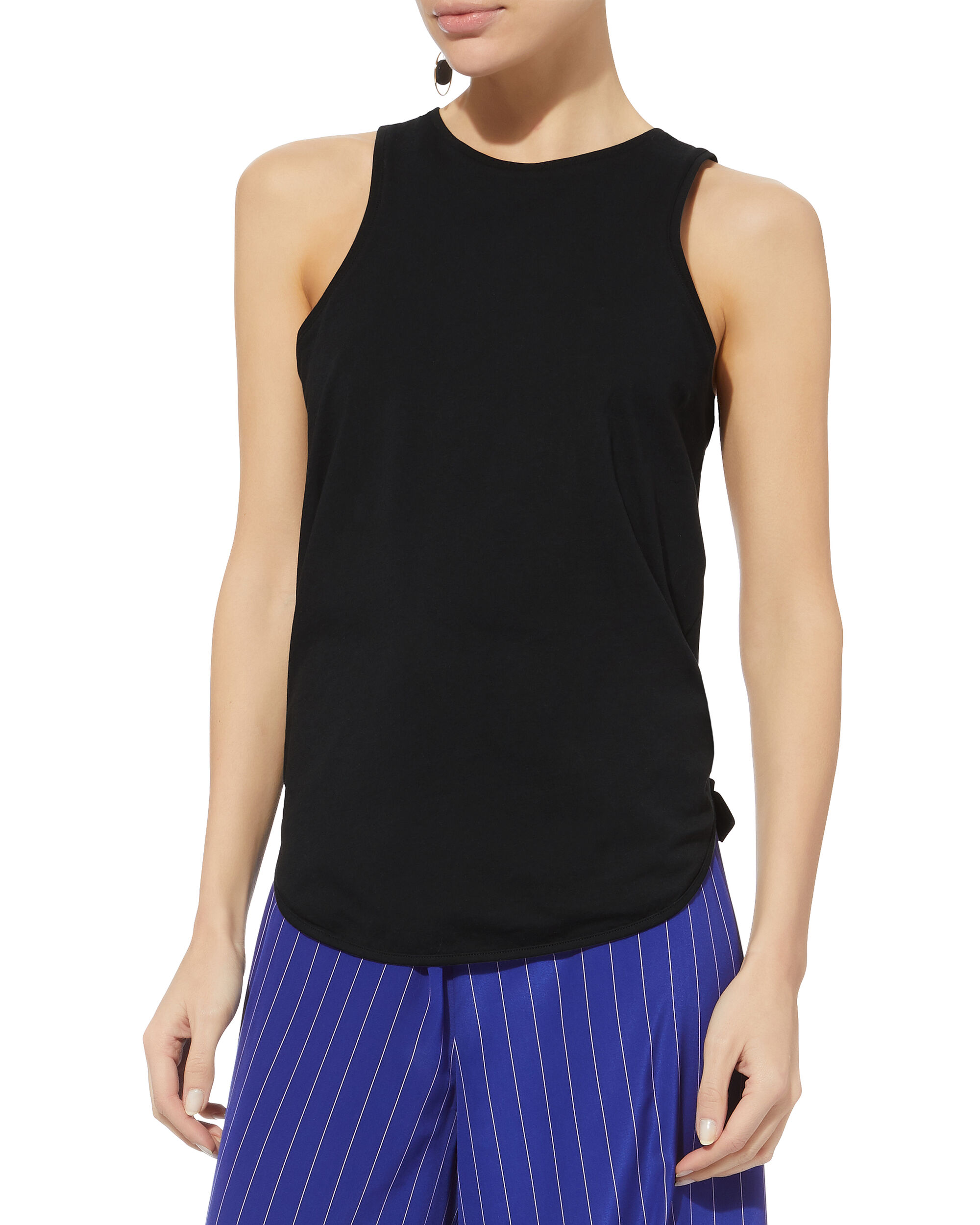 Shirred Back Cutout Tank, BLACK, hi-res