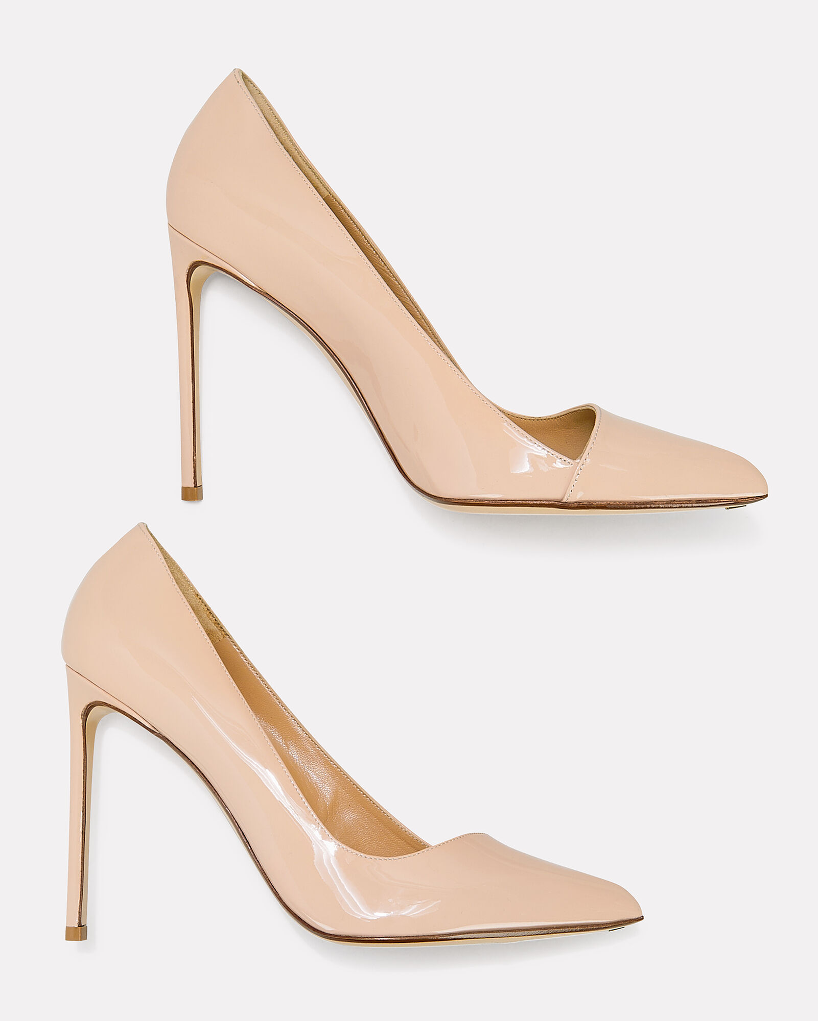 Beige Patent Leather Pumps, NUDE, hi-res