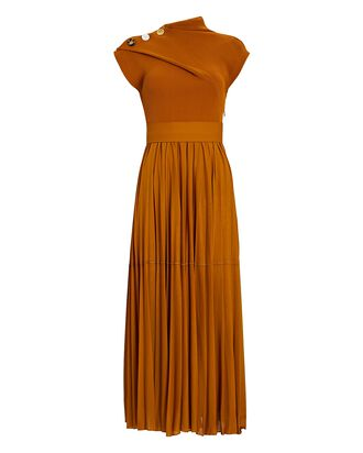 Pleated Knit Jersey Maxi Dress, BROWN, hi-res