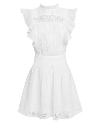 Lace Pintuck Dress, IVORY, hi-res
