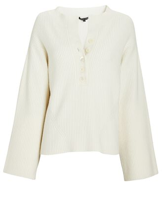 Arie Rib Knit Henley Sweater, IVORY, hi-res