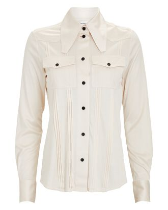 Slinky Silk Jersey Button-Down Shirt, IVORY, hi-res
