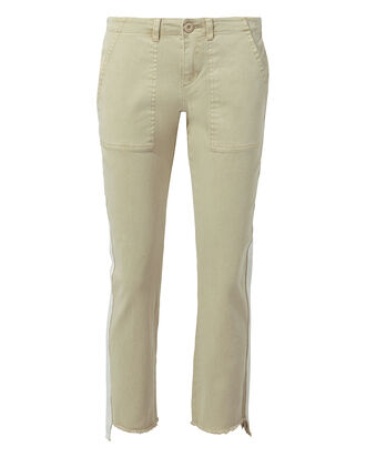Offset Side Stripe Skinny Pants, IVORY, hi-res