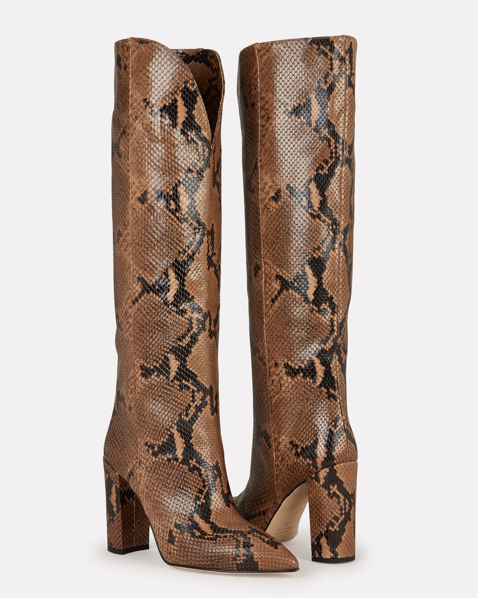 Python-Embossed Leather Knee-High Boots, BROWN, hi-res