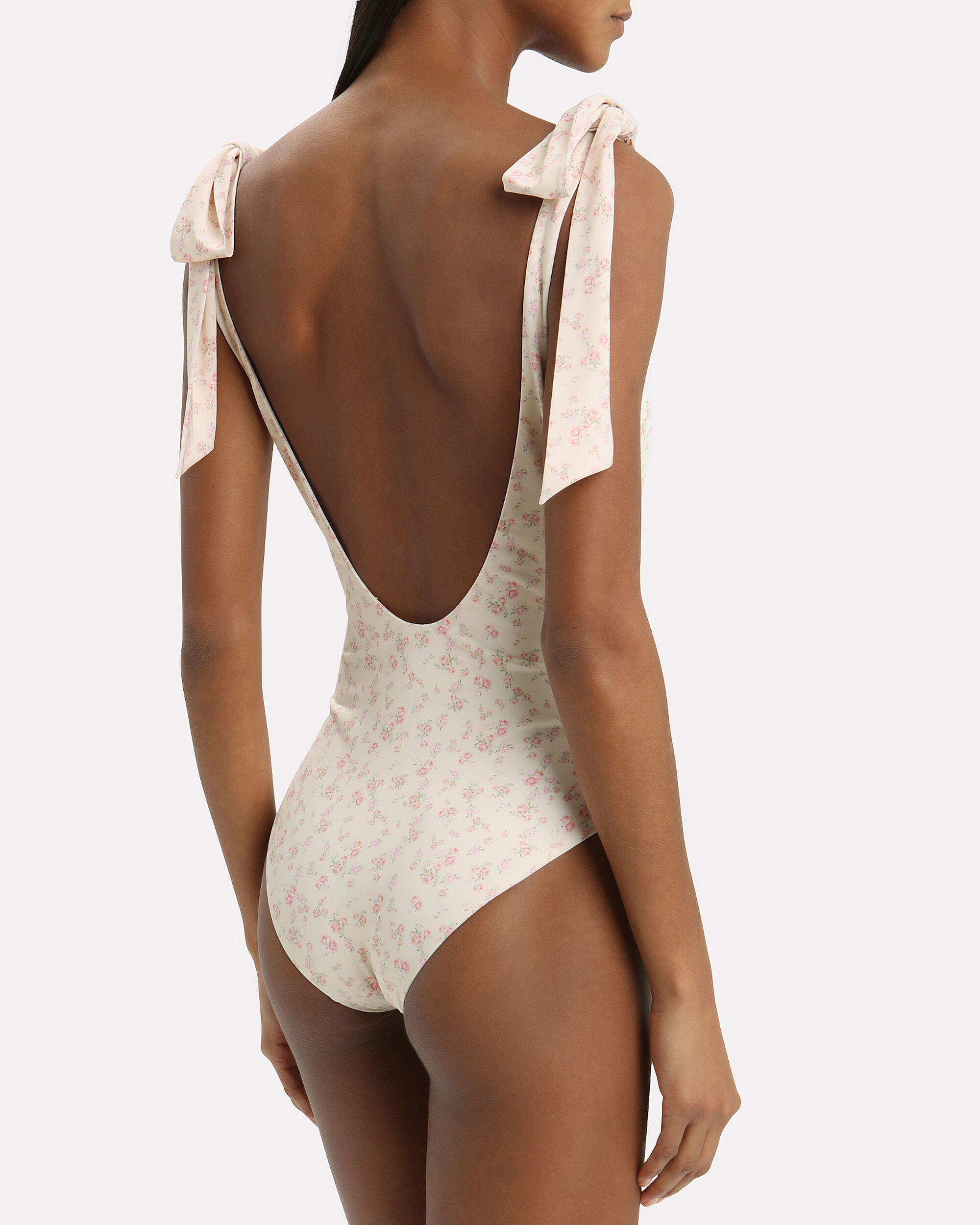 Posy Tie Shoulder Ivory One Piece Swimsuit, IVORY/PINK FLORAL, hi-res