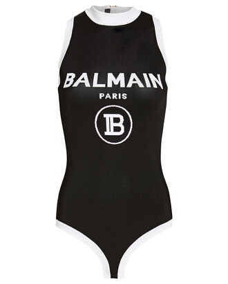 Sleeveless Jersey Logo Bodysuit, BLACK/WHITE, hi-res