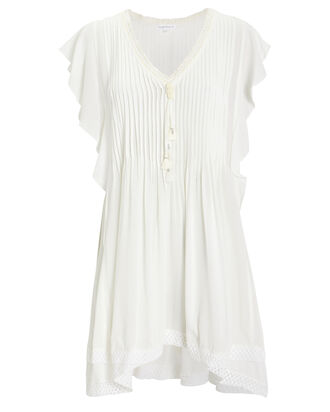 Mila Lace-Trimmed Georgette Dress, WHITE, hi-res