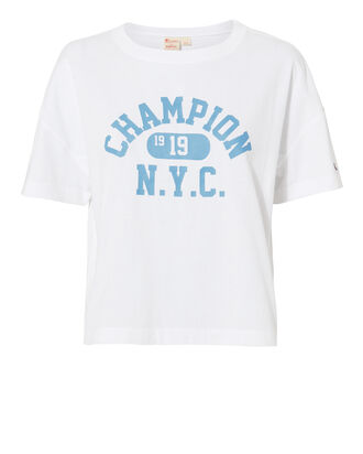 Oversized Champion Logo Tee, WHITE, hi-res