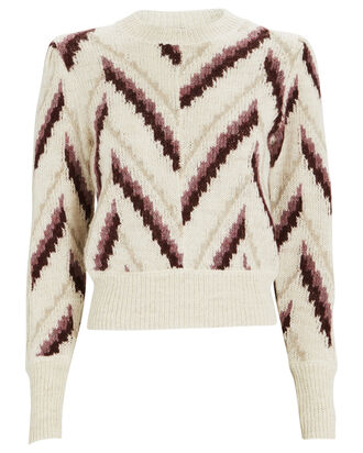 Glenny Chevron Alpaca-Blend Sweater, ROSE, hi-res