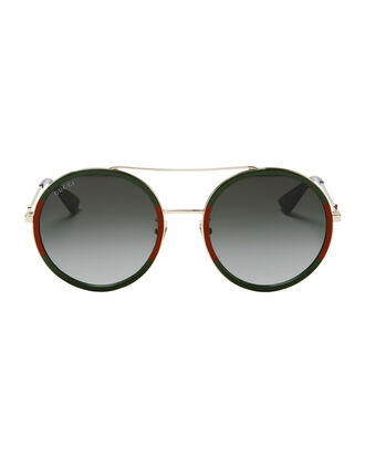 Colorblock Round Aviator Sunglasses, GREEN/RED/GOLD, hi-res