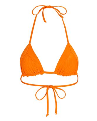 Sky Triangle Rib Knit Bikini Top, ORANGE, hi-res