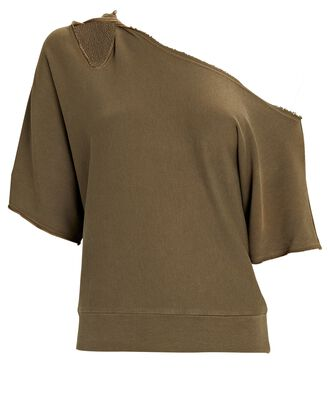 One-Shoulder Cut-Out Top, OLIVE/ARMY, hi-res