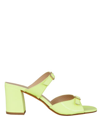 Una Double Strap Slide Sandals, NEON GREEN, hi-res