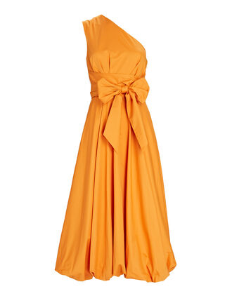 One-Shoulder Eco Poplin Midi Dress, ORANGE, hi-res