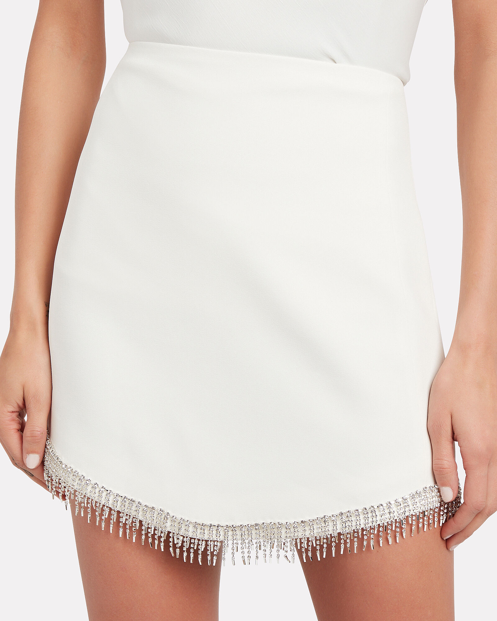 Embellished Crepe Mini Skirt, WHITE, hi-res