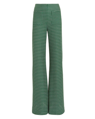 Luc Printed Wide Leg Trousers, GREEN/WHITE, hi-res