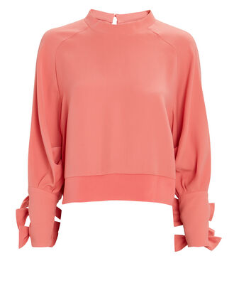Bow Sleeve Crepe Crewneck Top, , hi-res