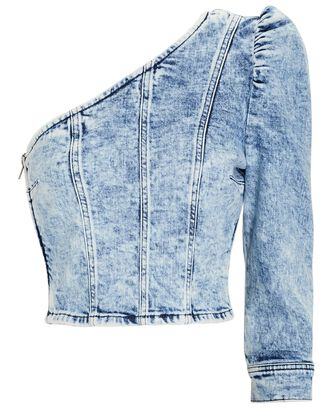 Mara One-Shoulder Denim Top, DENIM-LT, hi-res